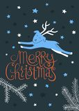 Merry Christmas greeting card vector. Christmas card design with a reindeer  on dark background. Vector illustration Stock Images