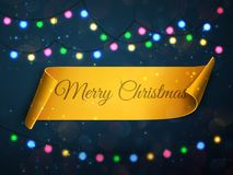 Merry Christmas greeting card. Vector festive background with colorful lights. Merry Christmas greeting card illustration. vector festive background with golden Stock Photography
