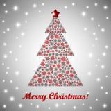 Merry Christmas greeting Card. Vector Christmas greeting card with a christmas fir tree Vector Illustration