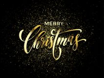 Merry Christmas greeting card vector golden confetti glitter black New Year background. Merry Christmas wish greeting card of gold glitter confetti or sparkling Royalty Free Stock Image