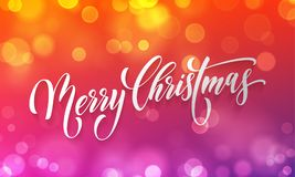 Merry Christmas greeting card vector golden light bokeh blur New Year background Royalty Free Stock Image