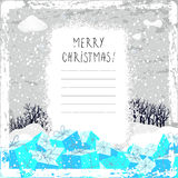 Merry christmas greeting card. Vector Christmas card, handwritten typography, gift boxes. Winter scenery Christmas greeting card, with copy space royalty free illustration