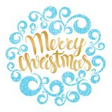 Merry Christmas greeting card. Vector illustration. Merry Christ. Mas lettering in round curves ornament. Hand drawn inscription, calligraphic design vector illustration