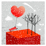 Merry christmas greeting card. Vector merry christmas greeting card, winter scenery, landscape, snowfall. Red bench with heart shaped balloon, trees vector illustration