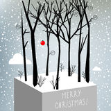 Merry christmas greeting card. Vector merry christmas greeting card, winter scenery, snowfall royalty free illustration
