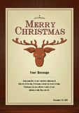 Merry Christmas Greeting card in vintage with reindeer symbol on wooden background Royalty Free Stock Photo