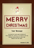 Merry Christmas Greeting card in vintage with snowman symbol on wooden background Royalty Free Stock Photography