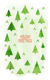 Merry Christmas Greeting Card. Whith watercolor christmas trees. Winter holiday design. Vector illustration stock illustration