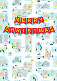 Merry Christmas. Greeting card winter city on eve of new year. G Stock Photography