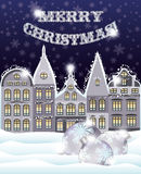 Merry Christmas greeting card with winter city and xmas balls. Vector illustration Stock Photography