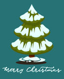 Merry Christmas greeting card. Winter holiday illustration Royalty Free Stock Photography
