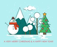 Merry Christmas greeting card winter landscape. Happy New year wishes. Poster in flat line modern style. Merry Christmas greeting card. Happy New year wishes Stock Photography