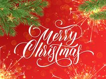 Merry Christmas greeting card and wish calligraphy lettering. Merry Christmas greeting card and wish calligraphy lettering on golden glitter of festive Royalty Free Stock Photography