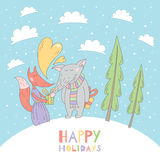 Merry Christmas greeting card with wolf and fox Royalty Free Stock Photos