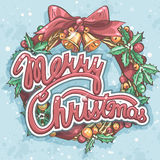 Merry Christmas greeting card with wreath Stock Photography
