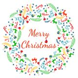 Merry Christmas greeting card with wreath, Vintage Background With Typography and Elements - sock, spruce, fir-tree, lollipop, str Royalty Free Stock Images