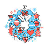 Merry Christmas greeting card wreath composition Royalty Free Stock Image