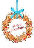 Merry Christmas greeting card with wreath of various gingerbreads.  Stock Photos