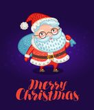 Merry Christmas, greeting card or xmas banner. Happy Santa Claus with big bag full of gifts. Vector illustration. Merry Christmas, greeting card or banner. Santa Royalty Free Stock Image