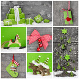 Merry christmas greeting card. Xmas decoration in red, white and. Green colors with wood. Country style royalty free stock images