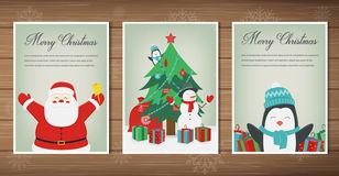Merry christmas greeting cards collection. Christmas set with Santa and other characters. Vector stock illustration