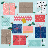 Merry Christmas greeting cards. Colorful gifts  Stock Image