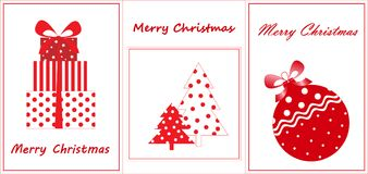 Merry christmas greeting cards, flat new year elements, red and white Stock Photo