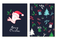 Merry Christmas. Greeting cards set with christmas symbols. Royalty Free Stock Images
