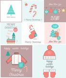 Merry Christmas Greeting Cards Set Royalty Free Illustration