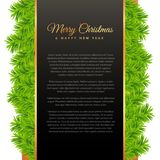 Merry christmas greeting design with green pine tree leafs. Vector Stock Photo