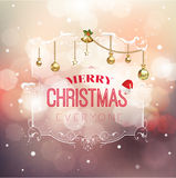 Merry Christmas greeting in floral frame stock illustration