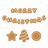 Merry Christmas greeting with gingerbread cookies royalty free illustration