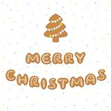 Merry Christmas greeting with gingerbread cookies vector illustration