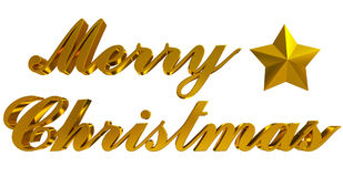 Merry Christmas greeting, golden 3d letters and star on white Royalty Free Stock Photo