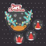 Merry Christmas greeting graphic with animals. Playing hide and seek Royalty Free Stock Photo