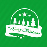 Merry Christmas greeting green card. Emblem for designs postcard royalty free illustration