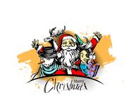 Merry christmas, greeting and invitation card.Christmas snowmen. With santa gifts collection, vector illustration Royalty Free Stock Image