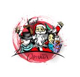 Merry christmas, greeting and invitation card.Christmas snowmen. With santa gifts collection, vector illustration Stock Photos