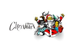 Merry christmas, greeting and invitation card.Christmas snowmen. With santa gifts collection, vector illustration Royalty Free Stock Photos