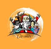Merry christmas, greeting and invitation card. Christmas snowmen. With santa gifts collection, vector illustration Royalty Free Stock Images