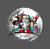 Merry christmas, greeting and invitation card. Christmas snowmen. With santa gifts collection, vector illustration Stock Photography
