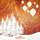 Merry Christmas Greeting. Origami Xmas Tree, landscape and polygonal background. White Origami Merry Christmas Greeting card with Cutout Paper Xmas Tree and Royalty Free Stock Images
