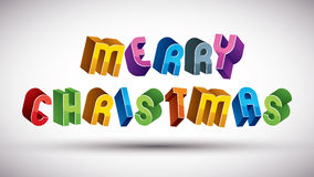 Merry Christmas greeting phrase, 3d retro style Stock Images