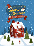 Merry Christmas greeting posters with red house royalty free illustration