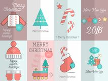 Merry Christmas Greeting Posters Set Royalty Free Illustration
