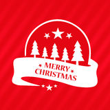 Merry Christmas greeting red card. Emblem with ribbon Stock Images