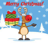 Merry Christmas Greeting With Reindeer Holding Up A Stack Of Gifts Royalty Free Stock Image