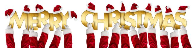 Merry christmas greeting santa claus hands gold letters Stock Photography