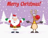 Merry Christmas Greeting With Santa Claus And Reindeer. Cartoon Character Stock Photos