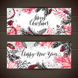 Merry Christmas greeting set of banners with new years tree and Stock Photography